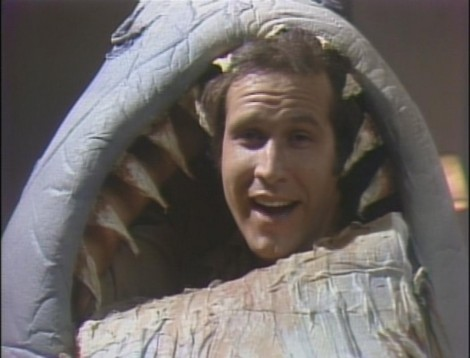 Chevy Chase in a Shark Costume